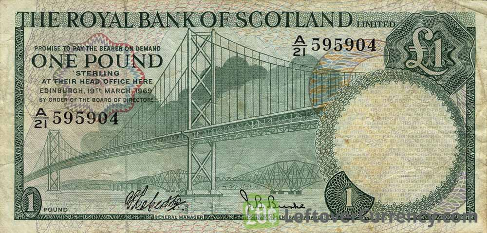 The Royal Bank of Scotland limited 1 Pound banknote (1969-1970 series)