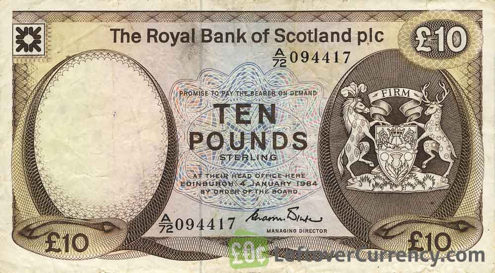 The Royal Bank of Scotland plc 10 Pounds banknote (1982-1986 series)