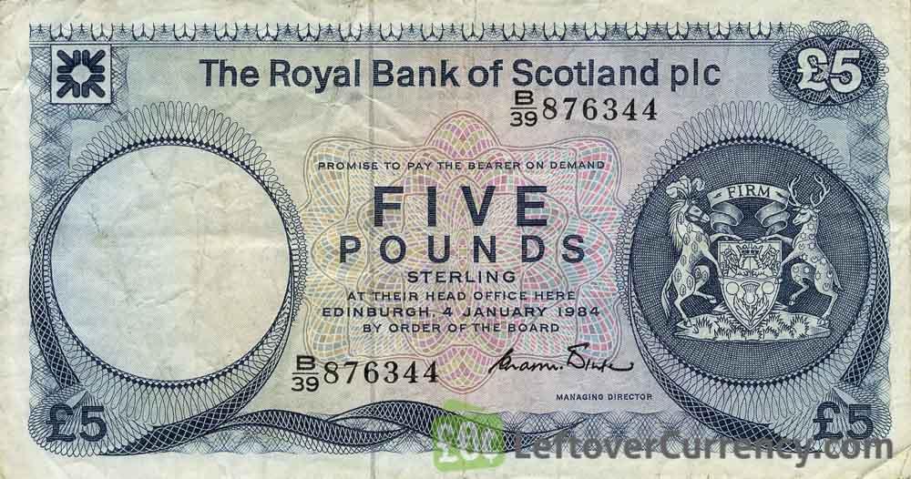 The Royal Bank of Scotland plc 5 Pounds banknote (1982-1986 series)