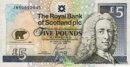 The Royal Bank of Scotland plc 5 Pounds banknote