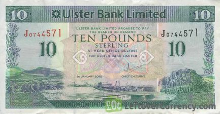 Ulster Bank Limited 10 Pounds banknote (series 1990-2012)