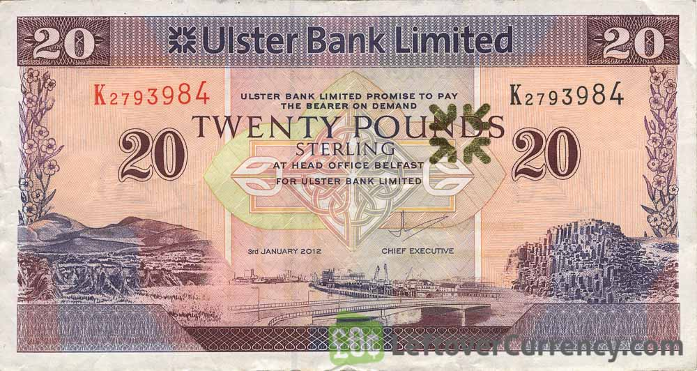 Ulster Bank Limited 20 Pounds banknote (series 1990-2012)