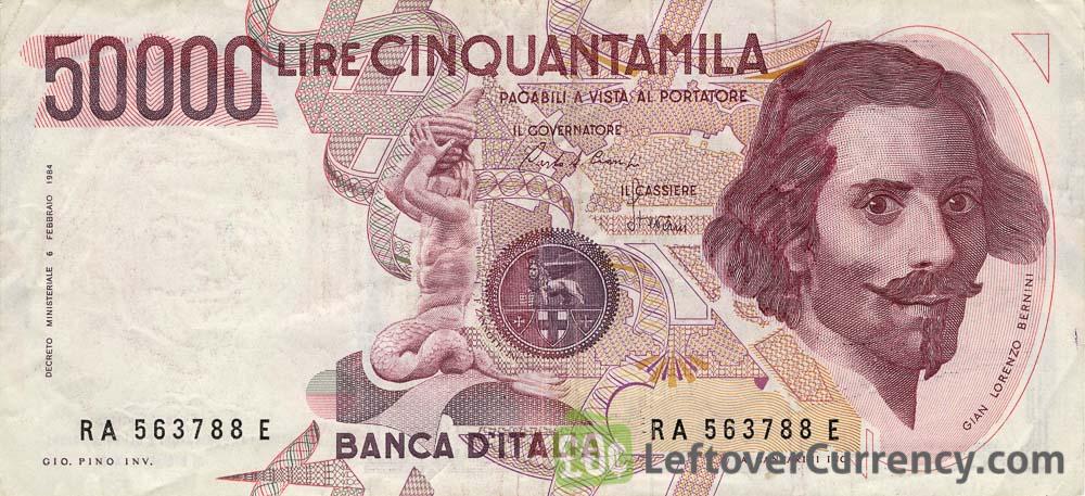 50000 Italian lire banknote Bernini 1984