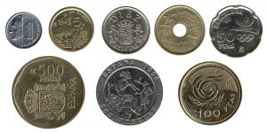 obsolete Spanish peseta coins accepted for exchange