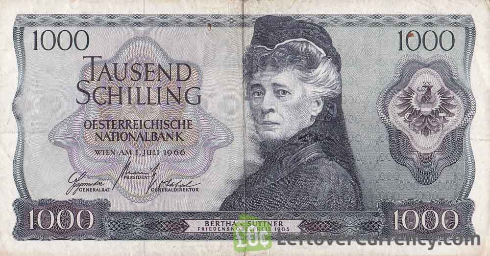 1000 Austrian Schilling banknote (Bertha von Suttner) obverse accepted for exchange