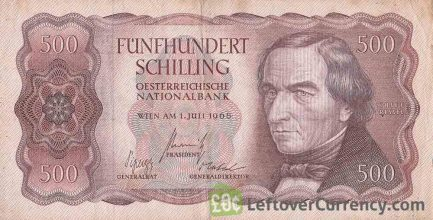 500 Austrian Schilling banknote (Joseph Ressel) obverse accepted for exchange