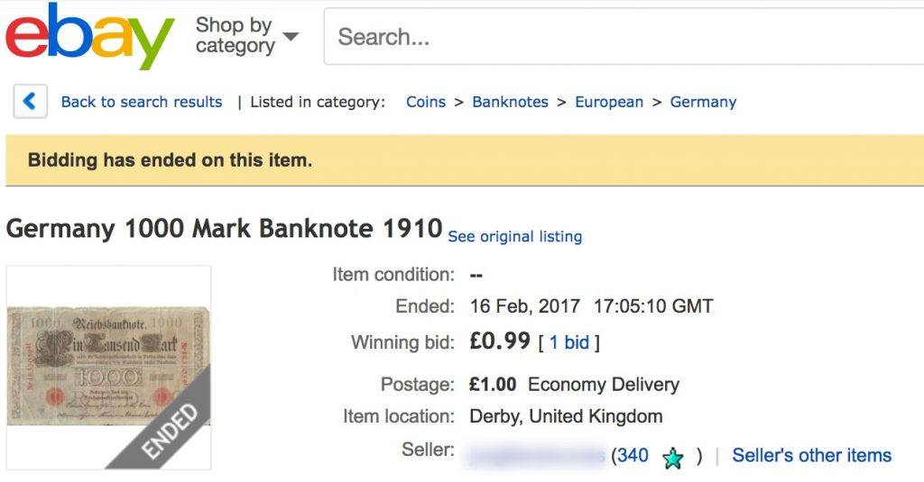 completed sale on Ebay for a 1910 dated 1000 mark banknote