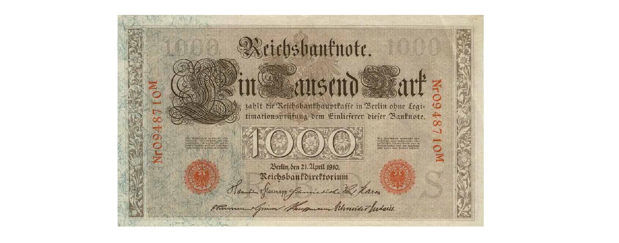 1000 mark Reichsbanknote 1910