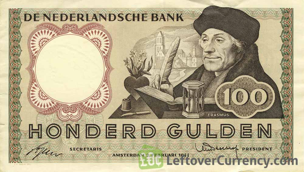 100 Dutch Guilders banknote (Erasmus)
