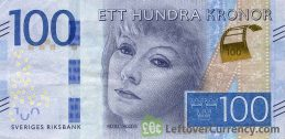 100 Swedish Kronor banknote (Greta Garbo) obverse accepted for exchange