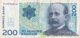 200 Norwegian kroner without hologram strip