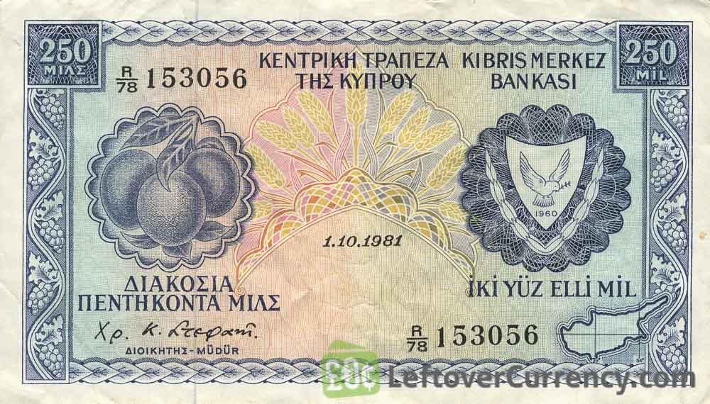 250 Mil banknote Cyprus