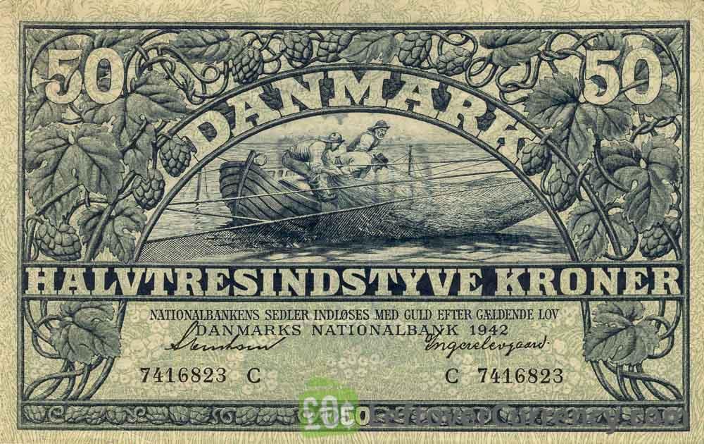 50 Danish Kroner banknote 1938-1942 issue