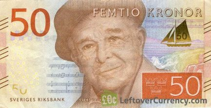 50 Swedish Kronor banknote (Evert Taube) obverse accepted for exchange