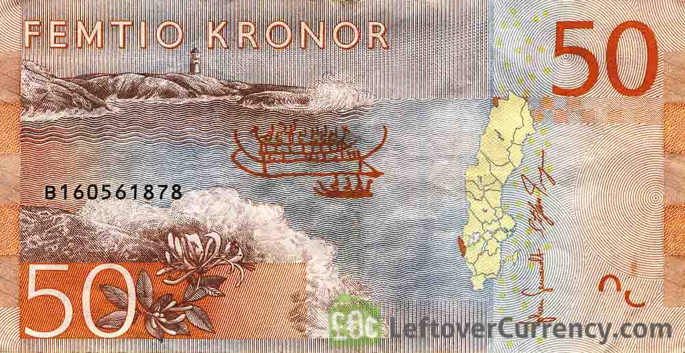 50 Swedish Kronor banknote (Evert Taube) reverse accepted for exchange