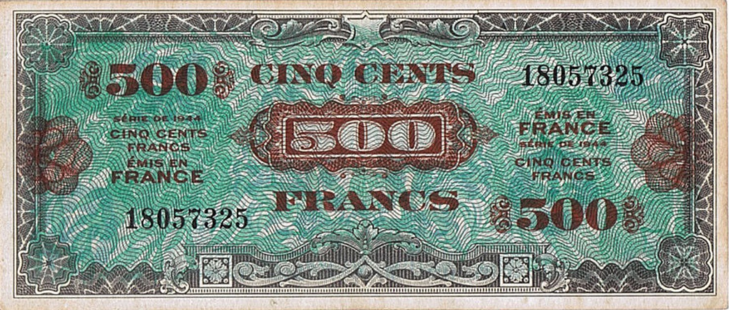 500 French Francs banknote (Allied Military Currency 1944)