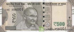 500 Indian Rupees banknote (Gandhi Red Fort)