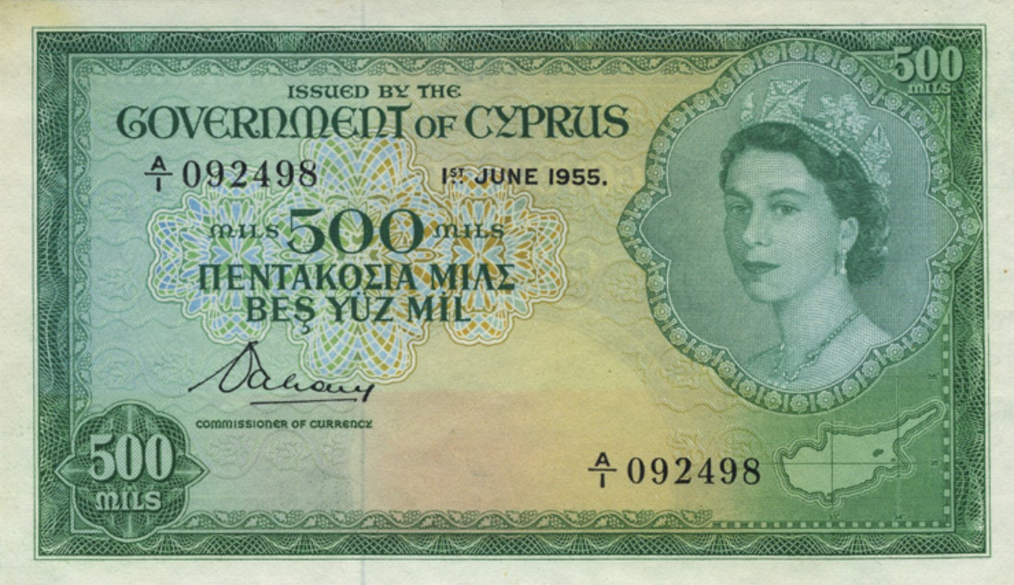 500 Mils banknote (Government of Cyprus)
