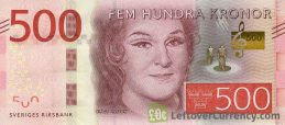 500 Swedish Kronor banknote (Birgit Nilsson) obverse accepted for exchange