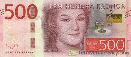 500 Swedish Kronor banknote (Birgit Nilsson) obverse accepted for exchange