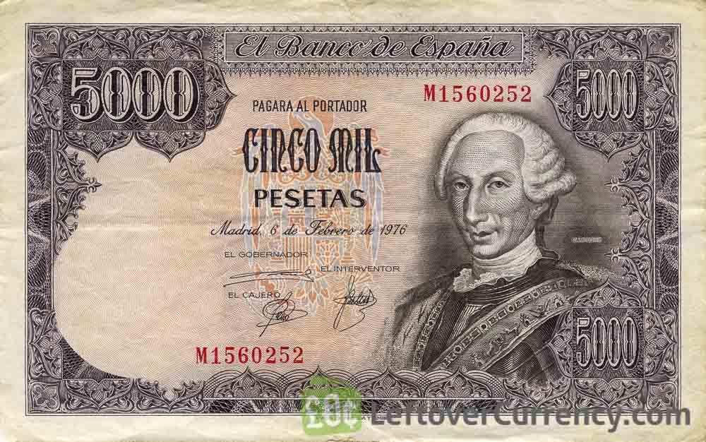 5000 Spanish Pesetas banknote (King Carlos III)
