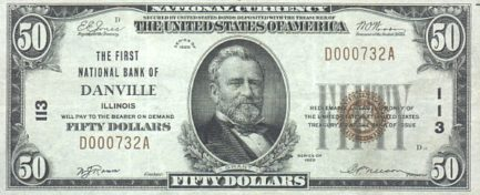 Fifty dollars national currency banknote brown seal