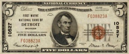 Five Dollars National Currency banknote brown seal