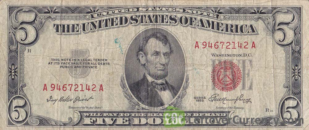 Five Dollars United States note red seal