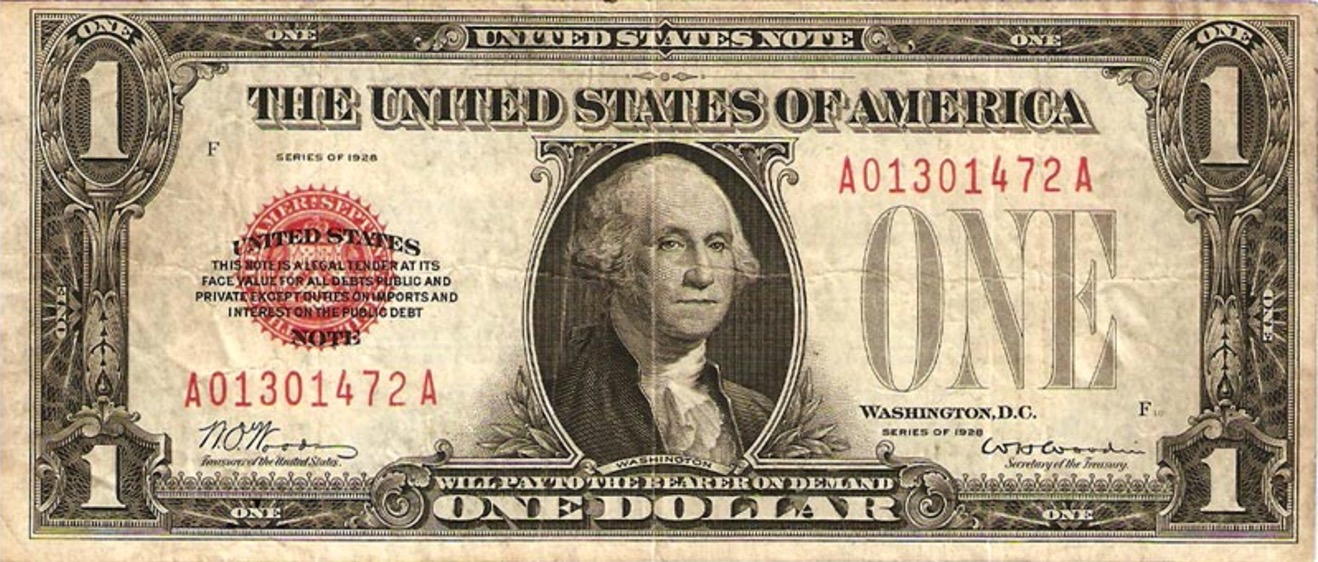 One Dollar United States note red seal
