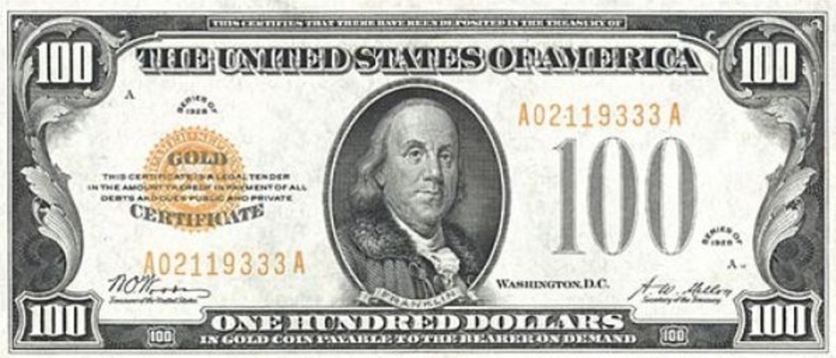 One Hundred Dollars Gold Certificate yellow seal