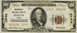 One Hundred Dollars National Currency banknote brown seal