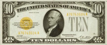 ten dollars gold certificate
