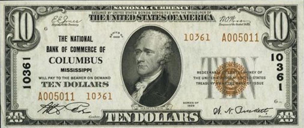 Ten Dollars National Currency banknote brown seal