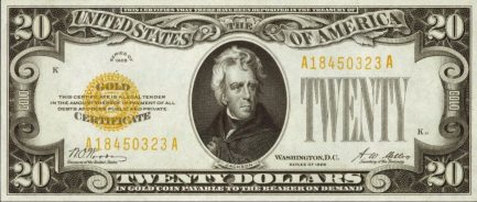 Twenty Dollars Gold Certificate yellow seal