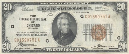 Twenty Dollars National Currency banknote brown seal