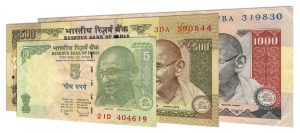 withdrawn Indian rupee banknotes