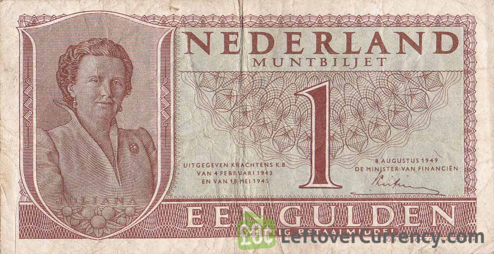 1 Dutch Guilder muntbiljet 1949