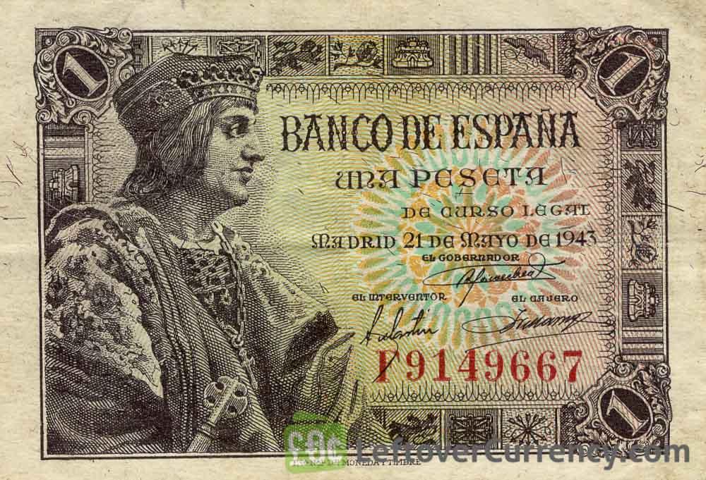 1 Spanish Peseta banknote (King Fernando el Catolico)