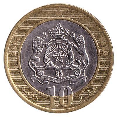 10 Dirhams coin Morocco (2002)