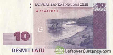 10 Latvian Latu banknote obverse accepted for exchange
