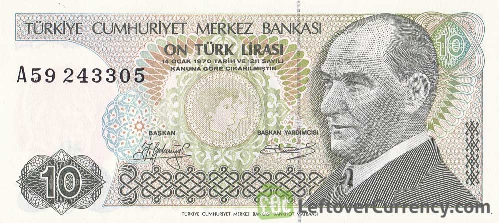 10 Turkish Lira banknote (7th emission group 1970)