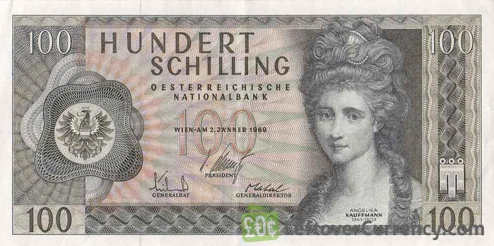 100 Austrian Schilling banknote (Angelika Kauffmann)