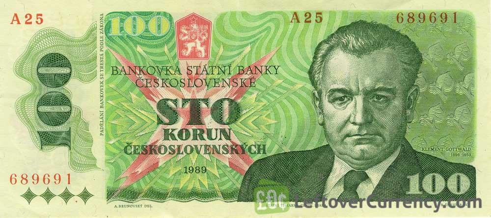 100 Czechoslovak Korun banknote 1989 (Klement Gottwald)