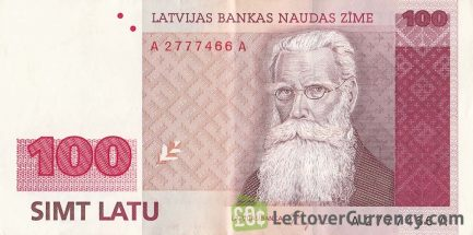 100 Latvian Latu banknote obverse accepted for exchange