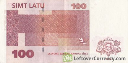 100 Latvian Latu banknote reverse accepted for exchange