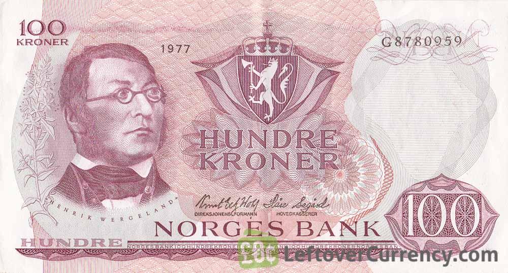 100 Norwegian Kroner banknote (Henrik Wergeland)