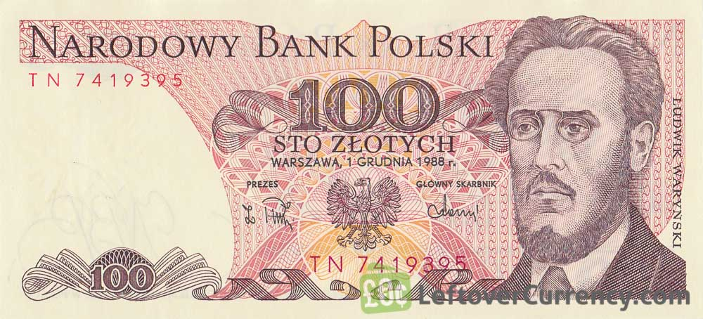 100 old Polish Zlotych banknote (Ludwik Waryński) obverse accepted for exchange