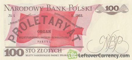 100 old Polish Zlotych banknote (Ludwik Waryński) reverse accepted for exchange