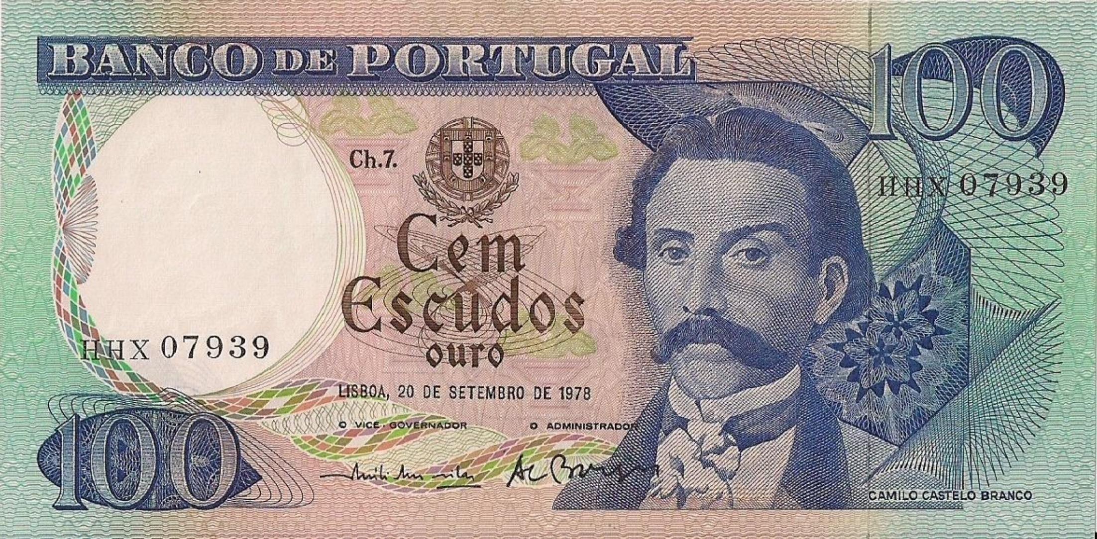 100 Portuguese Escudos banknote (Camilo Castelo Branco)