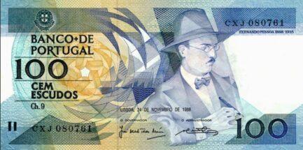 100 Portuguese Escudos banknote (Pessoa)